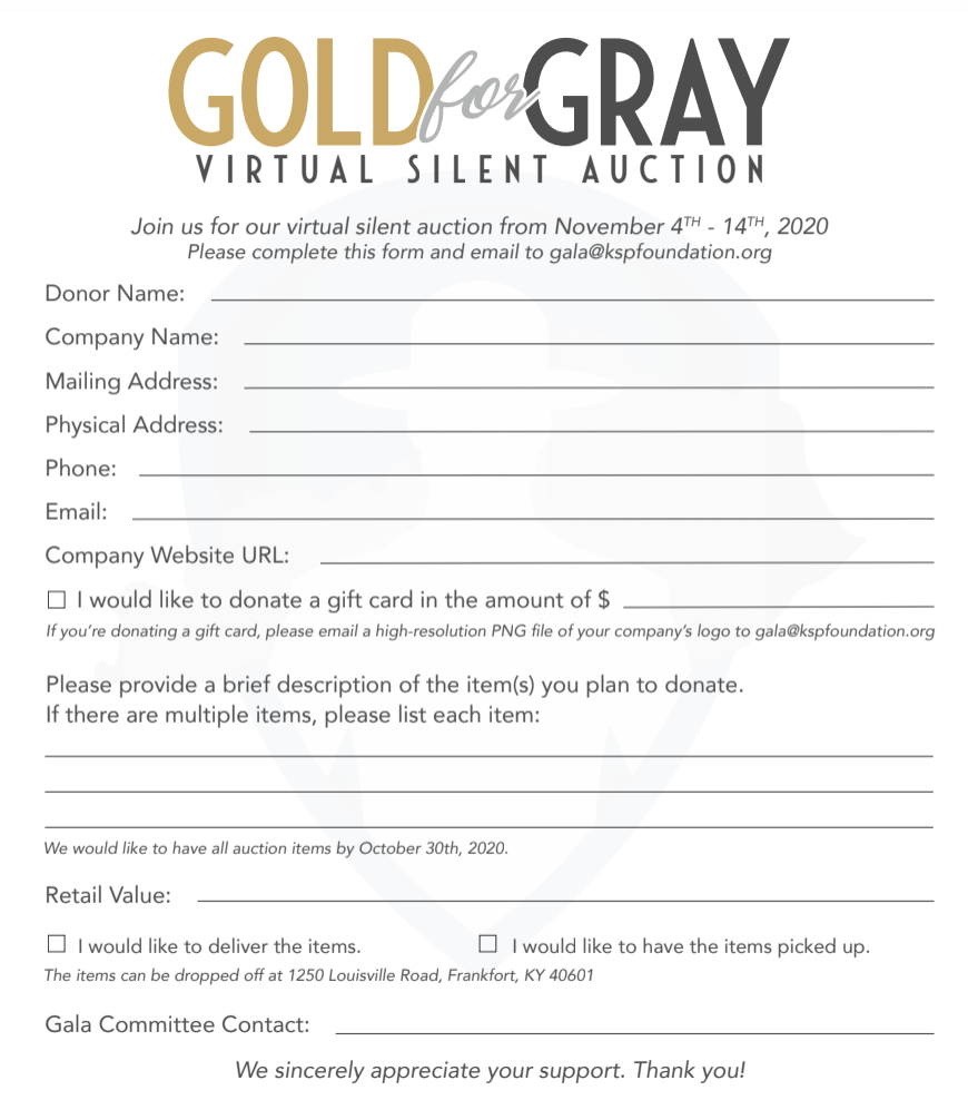 Gold For Gray Virtual Silent Auction Form